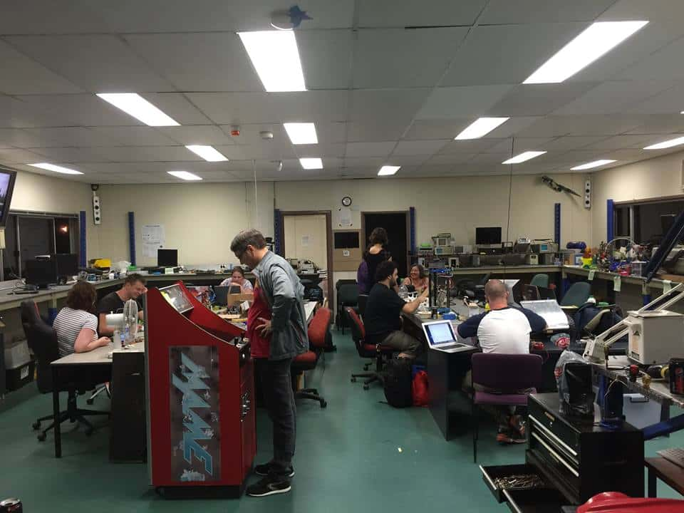 The green room at HSBNE is a central space for hacking and electronics work.